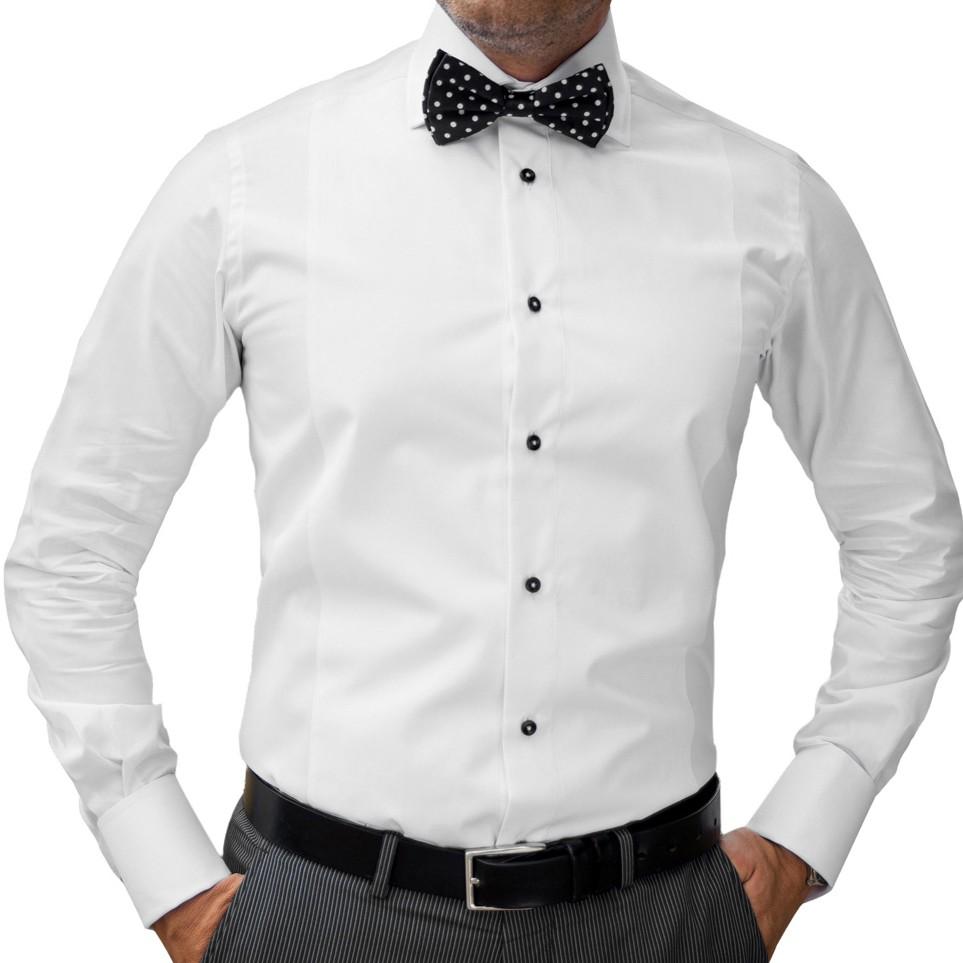 camasa alba barbati cu nasturi negri
