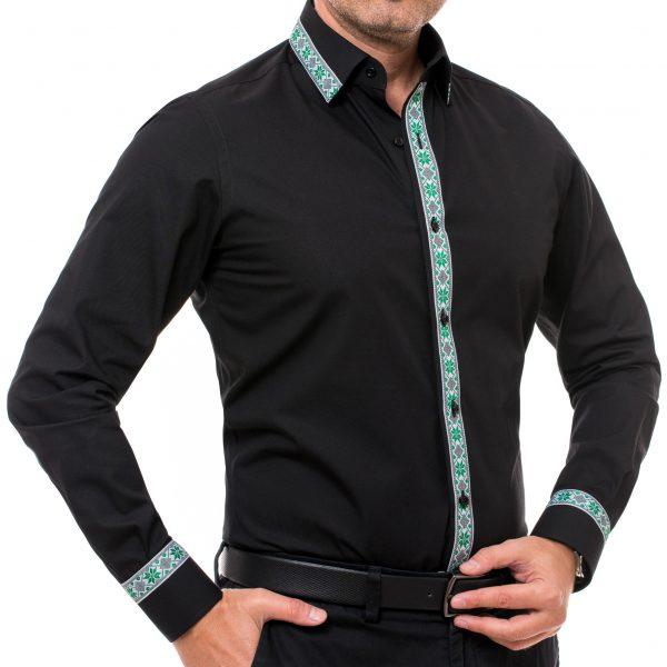 camasa neagra cu motive traditionale