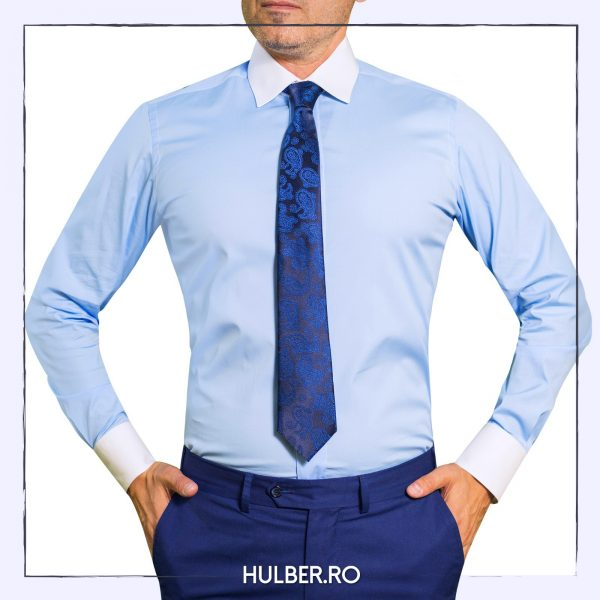 Camasa bleu cu guler si mansete albe