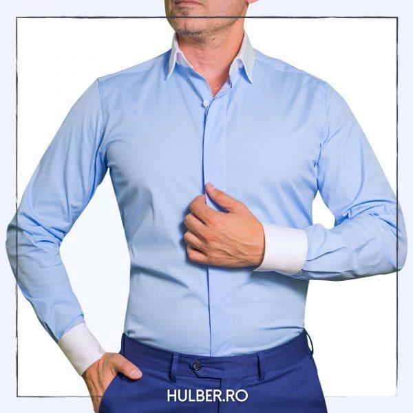 camasa-barbati-bleu-guler-mansete-albe-casual
