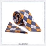 cravata-gri-alb-portocaliu-carouri-2