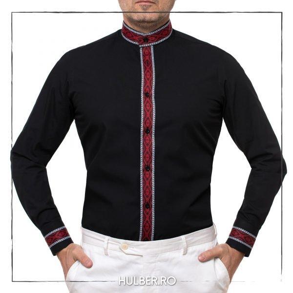 Camasa neagra motive traditionale si guler tunica