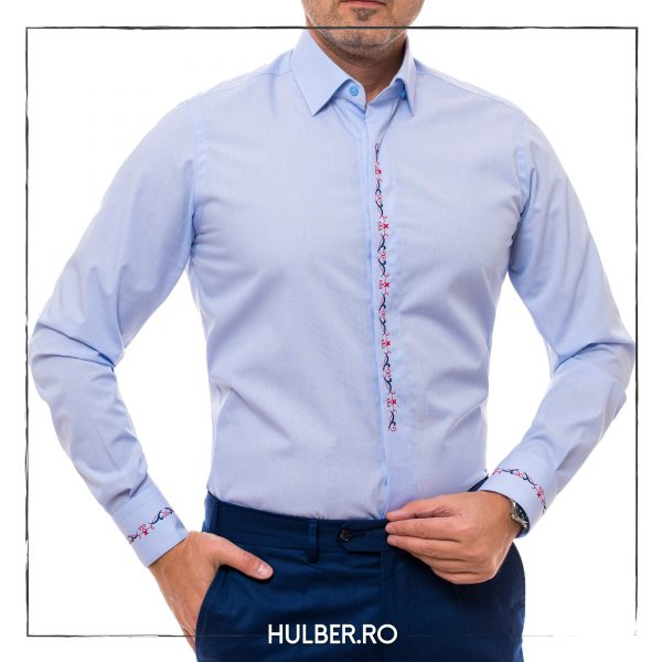 camasa bleu cu motive traditionale