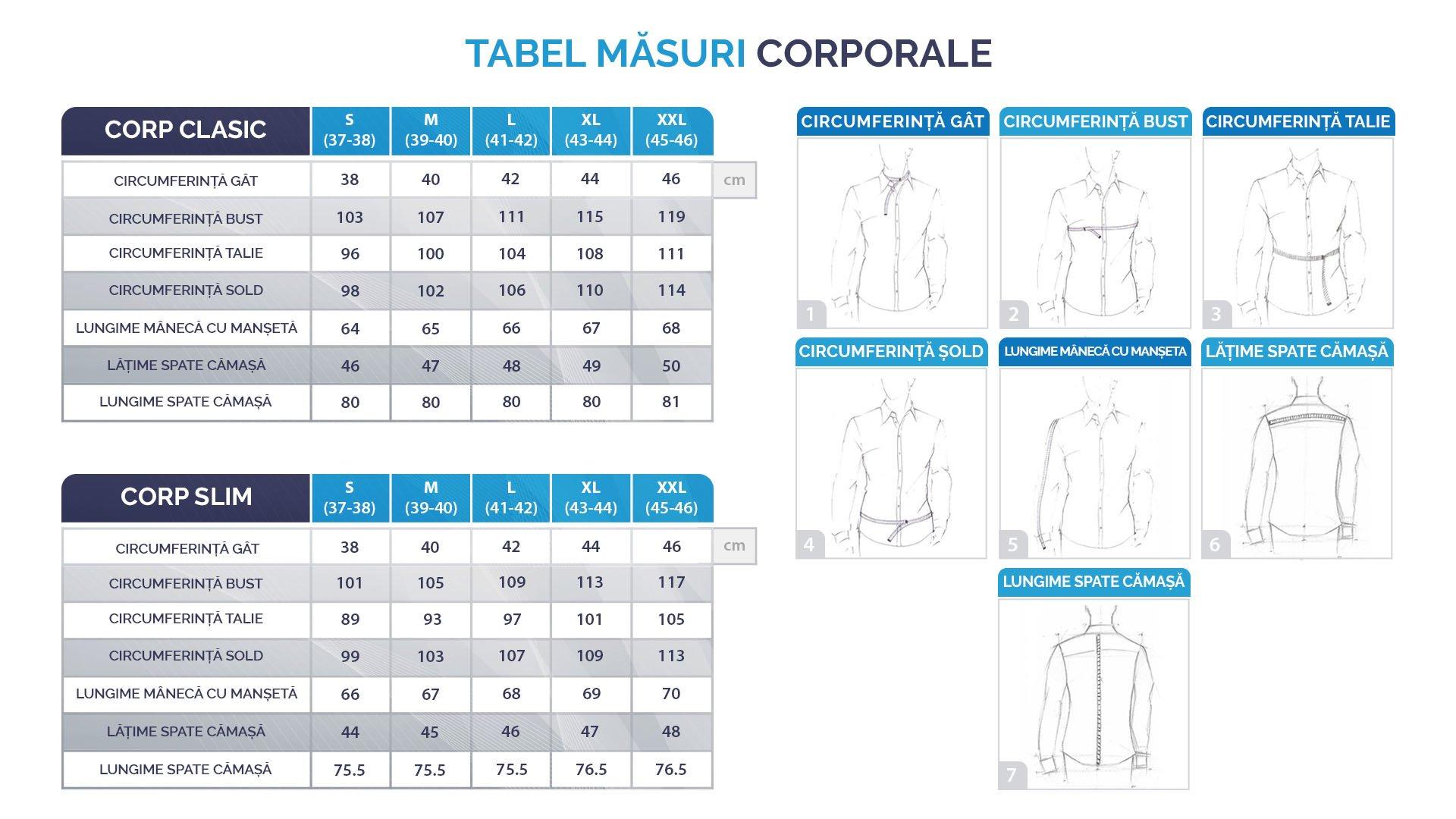 tabel cu mărimi pentru cămăși bărbați