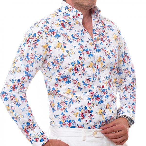 camasa alba model floral