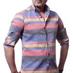 camasa din in multicolor
