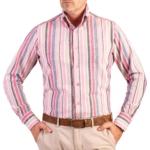 camasa din in in dungi verticale bleu gri roz