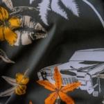 tesatura camasa imprimata kaki portocaliu